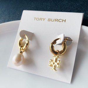 Tory Burch-signature logo pearl AB earrings
